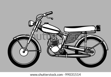 moped silhouette on gray background, vector illustration - stock vector