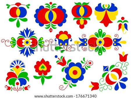 Moravian folk ornaments (South Moravia, Czech Republic) (vector version; available as raster too) - stock vector