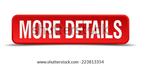 more details red 3d square button isolated on white - stock vector