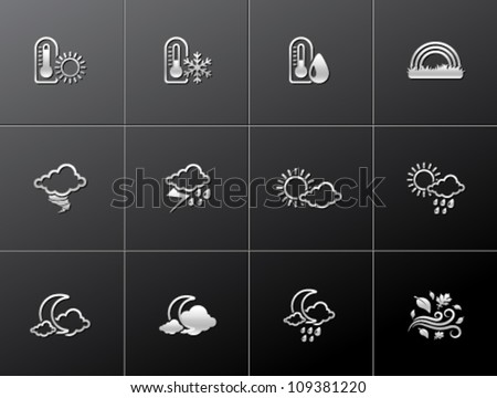 More weather icon series in metallic style - stock vector