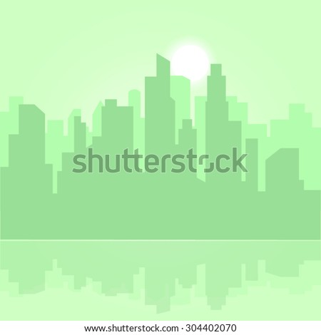 Morning abstract vector green city in bright colors - stock vector
