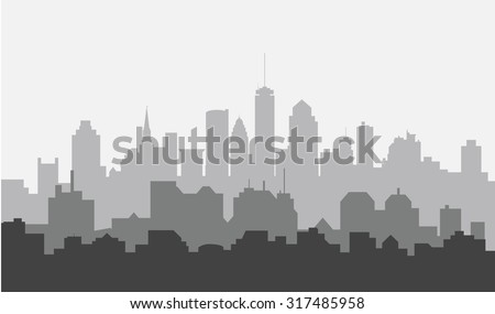 Morning Boston City Skyline - stock vector