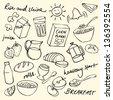 Morning breakfast doodle vector set - stock vector