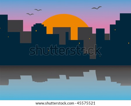 Morning city on the river bank. Vector illustration
