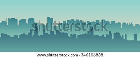 Morning city silhouette. Silhouette of the city at night against the setting sun - stock vector