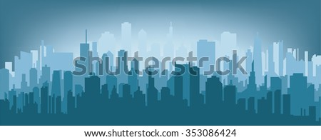 Morning city silhouette. Silhouette of the city at sunrise. - stock vector