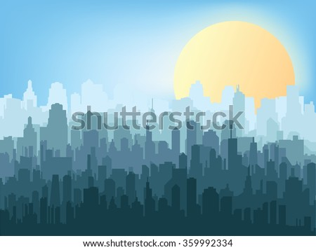 Morning city silhouette. Silhouette of the city at sunrise  - stock vector