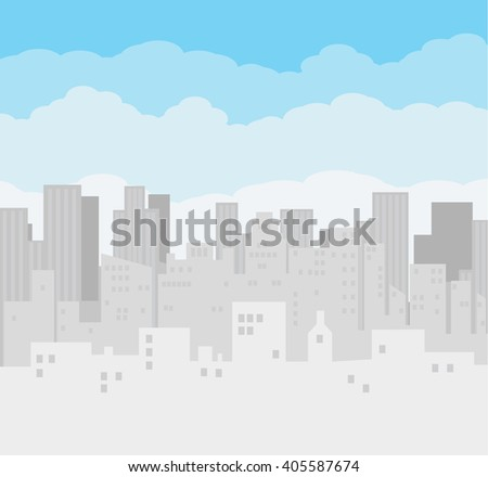 Morning city skyline. Buildings silhouette cityscape. Big city streets. Blue sky with clouds. Vector illustration - stock vector