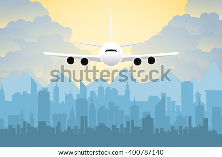 Morning city skyline. Buildings silhouette cityscape with mountains. Big city streets. sky with sun and clouds. Vector illustration. Plane flying over urban city. Vector illustration - stock vector