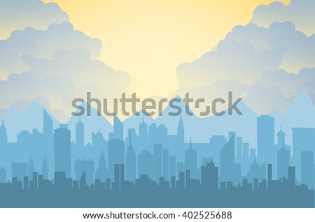 Morning city skyline. Buildings silhouette cityscape with mountains. Big city streets. sky with sun and clouds. Vector illustration - stock vector