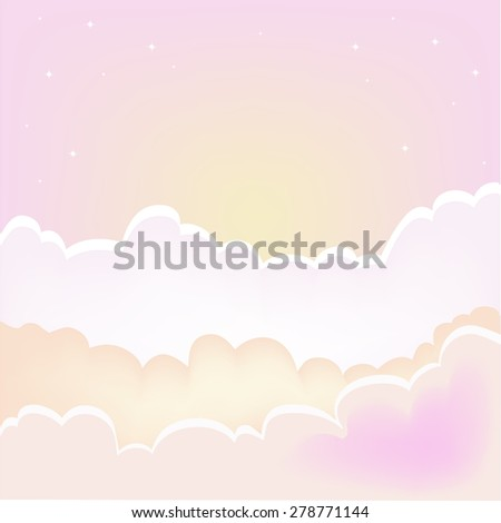 Morning clouds background.Vector sunset sky with clouds. - stock vector
