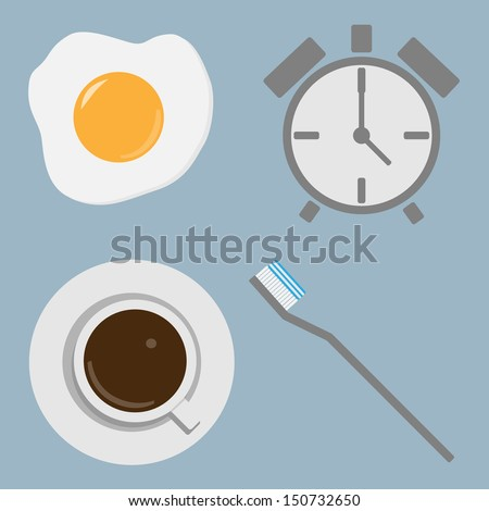 Morning concept. Toothbrush,Coffee,Alarm clock,Fried egg. - stock vector