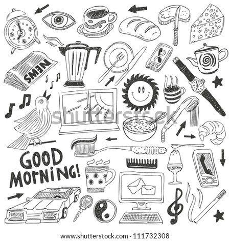 morning doodles collection - stock vector