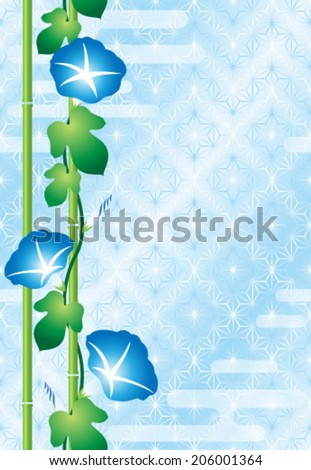 Morning glory on Japanese traditional pattern - stock vector