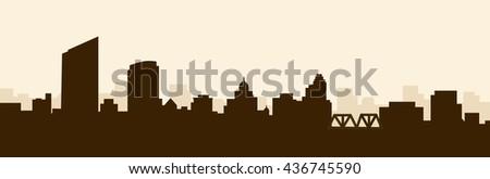 Morning Grand Rapids Skyline - Vector - stock vector