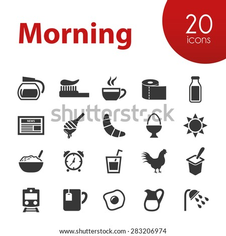 morning icons - stock vector
