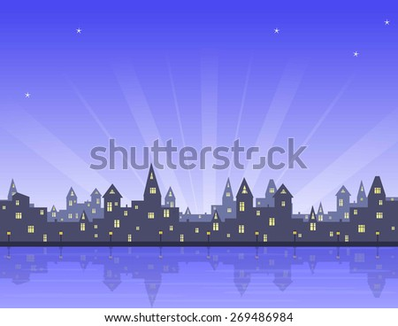 morning in old city, embankment with lanterns, sea, blue sky with stars and sun rays, vector illustration - stock vector