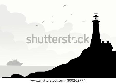 Morning Lighthouse - stock vector