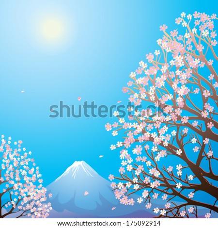 Morning. Mount Fuji in surroundings the flowering trees of sakura. - stock vector
