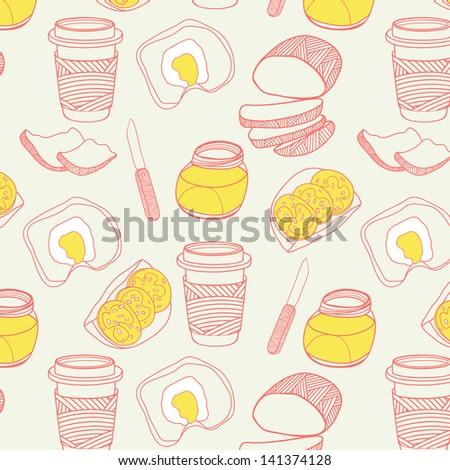 Morning  seamless pattern. Hand drawn vector illustration - stock vector