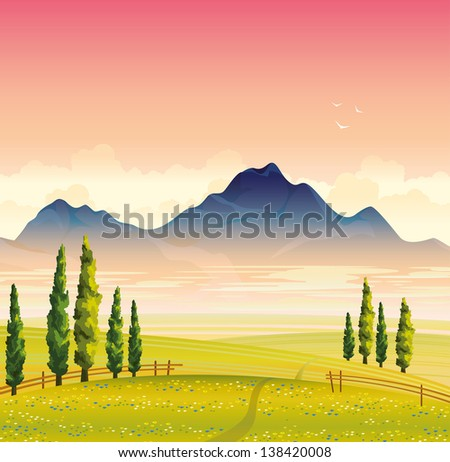 Morning summer landscape with green flowering meadow, cypress trees and mountains with fog on a pink sky background - stock vector
