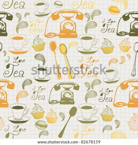 Morning tea cup seamless background - stock vector