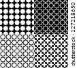 Moroccan black and white seamless patterns set, vector - stock vector