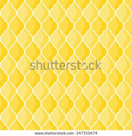moroccan geometric seamless pattern in yellow tones - stock vector