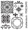Moroccan Stencil Design Elements.  Use to create your own backgrounds or clip art for craft projects. - stock vector