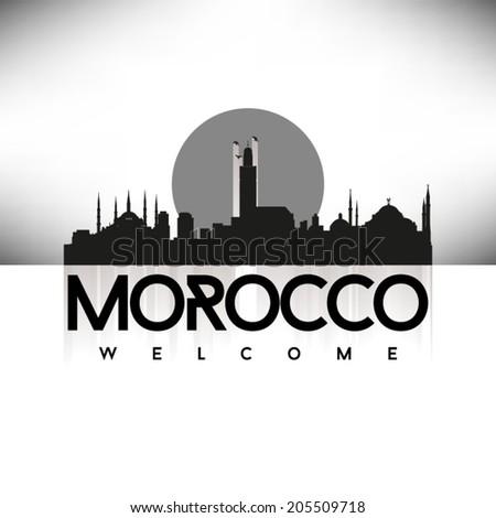 Morocco Black Skyline Silhouette vector illustration, Typographic design. - stock vector