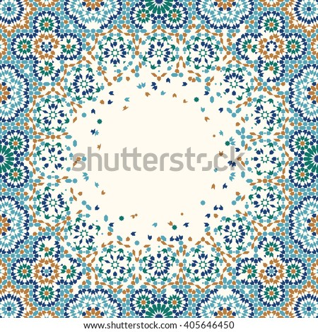 Morocco Disintegration Template. Traditional Islamic Mosaic Design. Abstract Background.  - stock vector