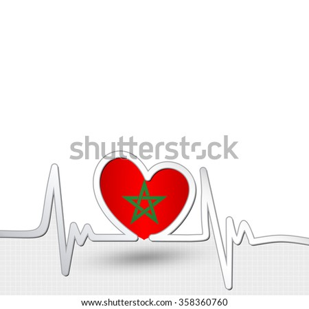 Morocco flag heart and heartbeat line.Patriotic vector background.