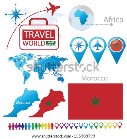 Morocco. flag. map. Travel vector Illustration.