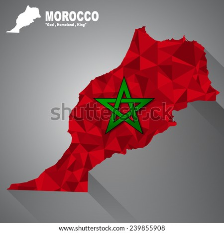 Morocco flag overlay on Morocco map with polygonal and long tail shadow style (EPS10 art vector)