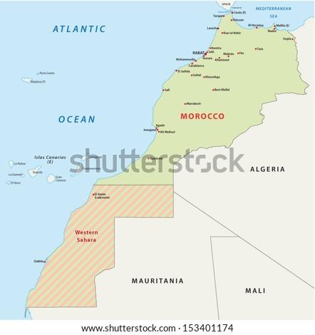 morocco map - stock vector