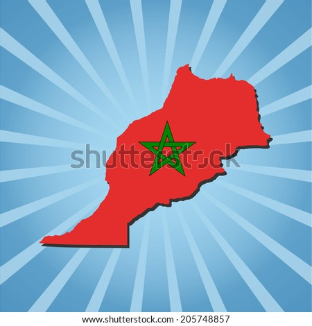 Morocco map flag on blue sunburst illustration