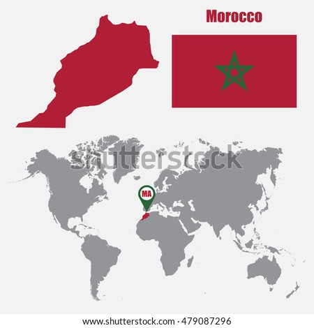 Morocco Map On World Map Flag Stock Photo (Photo, Vector ...