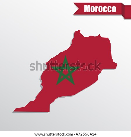 Morocco map with flag inside and ribbon