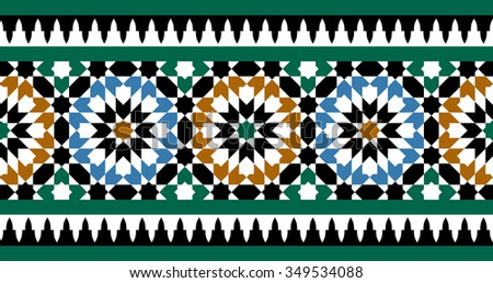 Morocco Seamless Border. Traditional Islamic Design. Mosque decoration element. - stock vector