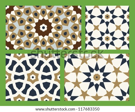 Morocco Seamless Pattern Set. Traditional Arabic Islamic Background. Mosque decoration element - stock vector