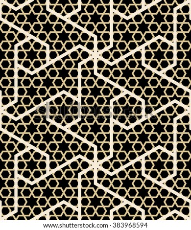 Morocco Seamless Pattern. Traditional Arabic Islamic Background. Mosque decoration element. Ocher, white on black background