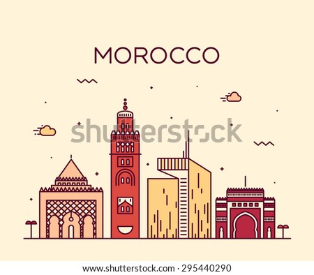 Morocco skyline, detailed silhouette. Trendy vector illustration, linear style. - stock vector
