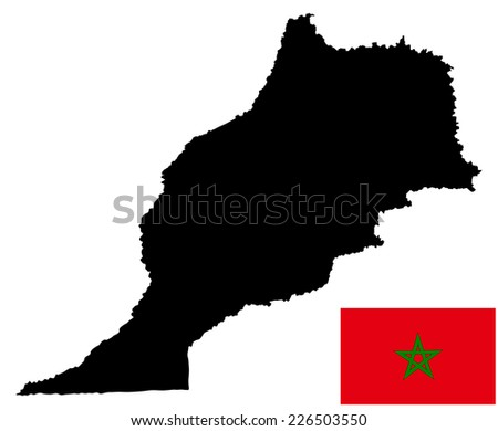 Morocco vector map and vector flag high detailed silhouette illustration isolated on white background. - stock vector