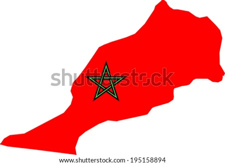 Morocco vector map, flag