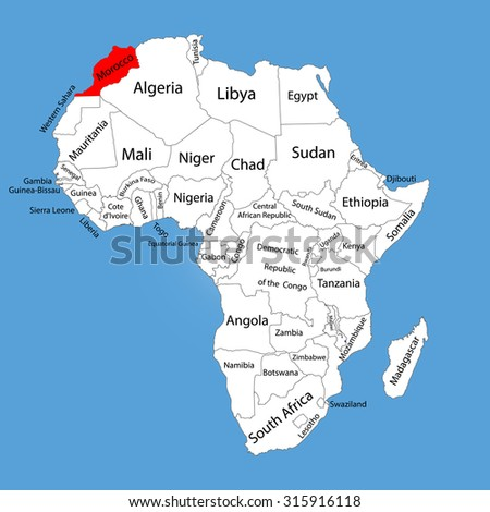 Morocco vector map silhouette isolated on Africa map. Editable vector map of Africa. - stock vector