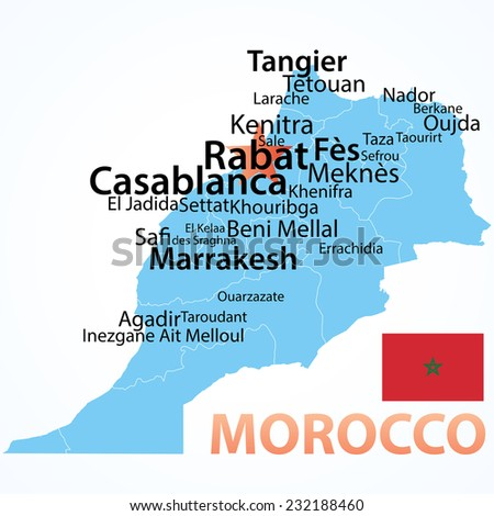 Morocco . vector map with largest cities, carefully scaled text by city population, geographically correct.