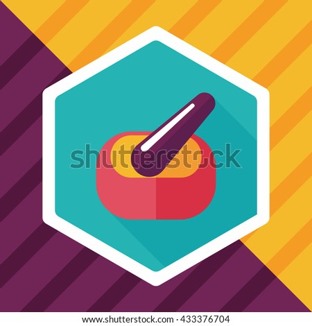 mortar and pestle Flat style Icon with long shadows - stock vector