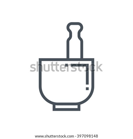 Mortar and pestle icon suitable for info graphics, websites and print media and  interfaces. Line vector icon. - stock vector