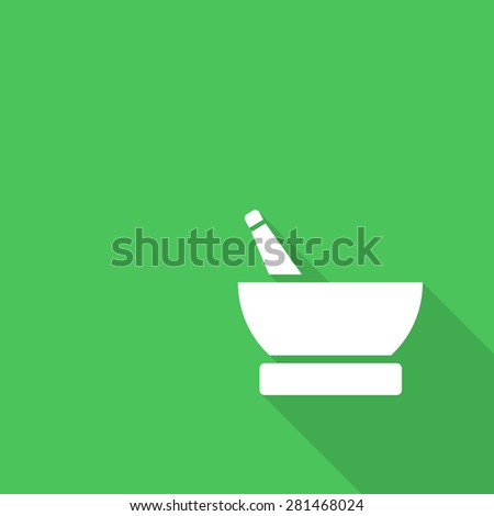 Mortar and pestle pharmacy flat icon with long shadow. - stock vector