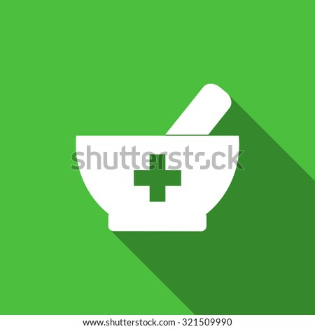 Mortar and pestle - pharmacy vector illustration. Pharmacy symbol on green background. Mortar and pestle with cross. Flat style design with long shadow. - stock vector